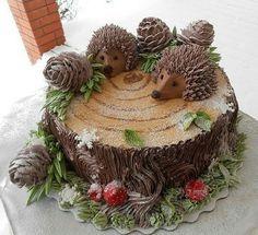 Ideas For Cupcakes Versieren Egel Fancy Cakes, Cute Cakes, Pink Cakes, Fun Cupcakes, Cupcake Cakes, Sonic The Hedgehog Cake, Hedgehog Birthday, Log Cake, Animal Cakes