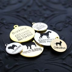 Personalized Dog Breed ID Tags ~ Super high quality dog ID Tags are made to order ~ Two finishes, gold plated or genuine nickel plated ~ Unmatched look and feel ~ Keep your Pet safe by always having them tagged Shop Mimi Green French Buldog, Personalized Dog Collars, Mini Aussie, Dog Id Tags, Pet Id, Pet Safe, Losing A Dog, Best Dogs, Dog Breeds