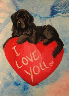 a6b5e4cb Hand Painted~LOVE~Card~Newfoundland~Dog~Original  Painting~Whimsical~ACEO~Valentine~ART
