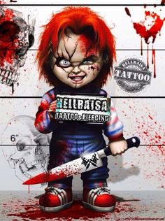 Childs Play Ultimate Chucky and Tiffany Scale Action Figure - Entertainment Earth Horror Artwork, Skull Artwork, Horror Movie Characters, Horror Movies, Childs Play Chucky, Stoner Art, Clowns, Cartoon Art, Art Pictures