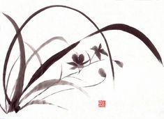 Afbeeldingsresultaat voor sumi e Japanese Artwork, Japanese Painting, Chinese Painting, Chinese Art, Chinese Brush, Korean Art, Asian Art, Watercolor Drawing, Watercolor Flowers