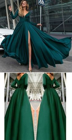 Silk Long Sleeved Evening Prom Dresses 2020 V neck Formal Gown Grad Dresses, Evening Dresses, Bridesmaid Dresses, Dresses Dresses, Elegant Dresses, Pretty Dresses, Formal Gowns, Formal Prom, Dream Dress