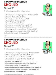 Quality ESL grammar worksheets, quizzes and games - from A to Z - for teachers & learners SHOULD English Grammar Worksheets, Learn English Grammar, English Study, English Class, English Words, English Lessons, English Vocabulary, English Language, English Teaching Materials