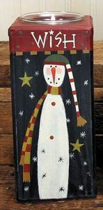 tealight wooden tall holder | Tall Snowman Wish Candle Holder. Free Ground Shipping. What is your ...