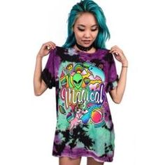 Magical Alien Womens T-Shirts Long Hem Short Sleeves Camisetas Cool Night Club Party Tops Hipster Female Streetwear T Shirts Jeans Grunge, Streetwear, Tie Dye, Casual T Shirts, Printed Tees, Female Models, Dame, T Shirts For Women, Womens Fashion