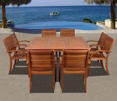 Amazonia Arizona 9-PC Eucalyptus Square Teak Dining Set - Perfect For Your Outdoor Patio!