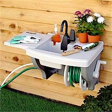 Attractive Backyard Gear Outdoor Sink With Hose And Hose Reel   Attaches To Regular  Outdoor Spigot