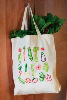 free farmers market tote project...free embroidery designs for vegetables etc