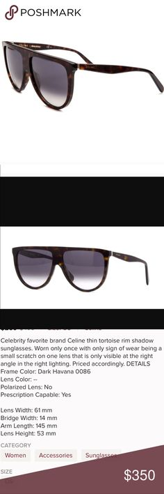 Celine Havana flat top tortoise shadow sunglasses Celine flat top Celine shadow sunglasses. As seen on every fashion forward celebrity. Kardashian, Jenner, J.lo, Beyoncé, Nikki Minaj and many more! Get these sold out sunglasses for a fraction of the original MSRP! Worn only one time. Please see description above for more details. 100 percent authentic! Celine Accessories Sunglasses