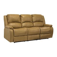"RecPro Charles 80"" Triple RV Zero Wall Hugger Recliner Sofa w/ Drop Down Console Toffee"