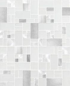 White glass metal modern backsplash tile