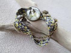 bracelet double °liberty° fille jaune noire rayures : Bracelet par les3filles