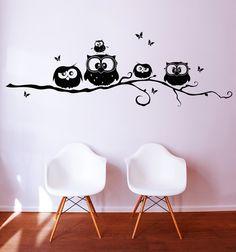 Kinderzimmerdekoration - Wandtattoo Eulen Gesellen Eulen auf Zweig M692 - ein Designerstück von IlkaParey bei DaWanda