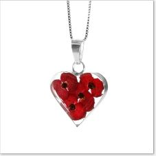 """Gorgeous heart-shaped pendant with beautiful miniature poppies inside a clear resin mould. Sterling 925 Silver chain. Size (approx) 18 x 18 mm.  Price includes 18"""" silver chain (as shown)  and a lovely FREE gift box.  £22.99     As the flowers are real they may vary in colour,shape and/or size.    One of our best-sellers.    This will make for a stunning gift for yourself or for that someone special in your life.  A truly unique and memorable gift.  www.AngelicCreationsShop.net"""