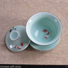 Fish Chinese Porcelain Teaset Pottery Teacup Celadon Longquan Gaiwan Lid Coaster | eBay