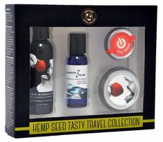 Earthly Body Tasty Travel Collection Strawberry. Contains 4 all time couples products. Edible Massage 2 fluid ounces, Waterslide Personal Moisturizer 1 fluid ounce, Love Button and Edible Massage 3 in 1 Candle. Edible Massage Strawberry flavored features: emollient rich oil blend works to lubricate skin and provide superior slip while leaving a non-greasy residue on skin after massage. Almond oil softens skin and promotes skin strength with nourishing vitamin E and D, as well as anti-aging…