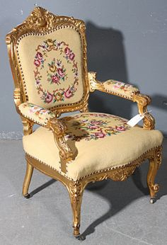 GREAT GILDED CARVED ROCOCO AMERICAN VICTORIAN ARM CHAIR - For Sale
