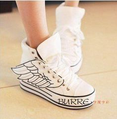 Women Chunky Angel Wings Lace Up High Platform High Top Flats Sneaker Shoes really neat Casual Sneakers, High Top Sneakers, Shoes Sneakers, Pepe Jean, Wing Shoes, Sports Shoes, Platform Shoes, High Tops, Fashion Shoes