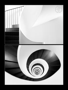 Two views of the same spiral staircase.