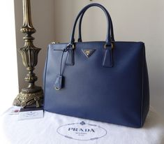 2e07ad38b4a7 Prada Large Galleria Double Zip Tote in Bluette Saffiano Lux - SOLD