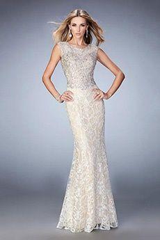 Sheath/Column Jewel Floor-length Lace Evening Dress