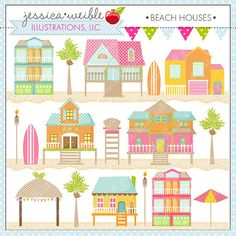 Beach Houses Cute Digital Clipart for Card by JWIllustrations