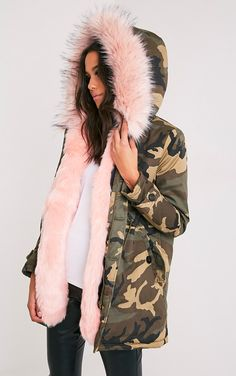 Fliss Baby Pink Premium Camo Faux Fur Lined Parka Image 4