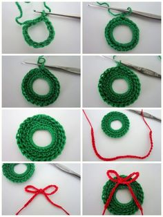 Crochet these little Christmas wreaths in green cotton with a little red bow - cute Christmas tree decorations