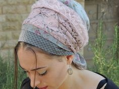 Marvelous Grey & Pink Tichel For Special by SaraAttaliDesign