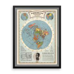 Air Map of the World - Enhanced Matte Paper Poster (FRAMED)
