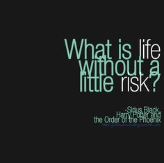 """What is life without a little risk?"" ~Sirius Black"
