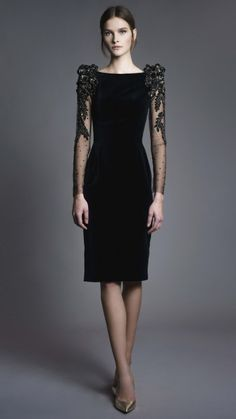 Black long sleeve dress featuring our signature floral embroidery on shoulders and sleeves. Little black dress for the stylish woman, All Black Dresses, Elegant Dresses, Dress Black, Gala Dresses, Homecoming Dresses, Pretty Outfits, Pretty Dresses, Look Fashion, Fashion Outfits