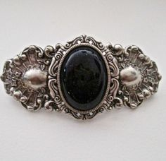 MIDNIGHT BLUE SAND STONE CABOCHON & SILVER VINTAGE STYLE BARRETTE ~ A BEAUTY! in Jewelry & Watches, Fashion Jewelry, Hair & Head Jewelry | eBay