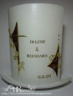 "Karins Kreativstube: Hochzeitskerze ""Helene & Reinhard"" wurzelholz/crem..."