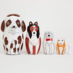 """Bits and Pieces - """"Buddy And Friends"""" Nesting Dogs - Hand Painted Wooden Nesting Dolls - Matryoshka - Set of 5 Dolls From 5"""" Tall"""