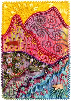 Climb Every Mountain Bead Journal Project for May, Bead embroidery on three fabrics. Celebrates the arrival of summer and sets a life goal for my art. I love this piece as the last one of my first bead journal year. it carries a great sentiment a Ribbon Embroidery, Beaded Embroidery, Embroidery Stitches, Embroidery Patterns, Sculpture Textile, Textile Art, Crazy Patchwork, Crazy Quilting, Fabric Postcards