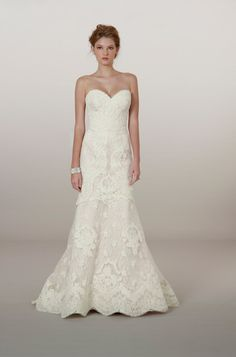 Style 5862 - French Alencon lace on embroidered tulle sweetheart strapless trumpet gown // Gown by Liancarlo