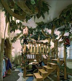 125 großartige Ideen zur Kinderzimmergestaltung - tropische kinderzimmergestaltung holzelemente treppe