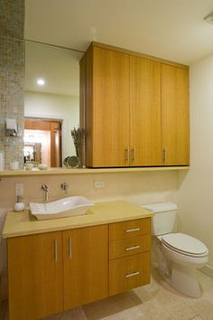 For Guest Bath (in Bedroom 2). Better! Built In Cabinet Above Toilet Nice Design