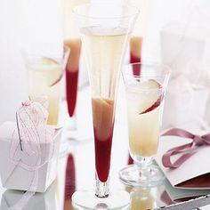Peach & Raspberry Sunsets Recipe Beverages, Cocktails with peaches, lemon, raspberries, golden caster sugar, lemon, sparkling wine, champagne