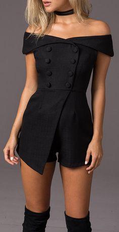 Tuxedo style black jumpsuit