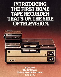 Effectively killed by porn in the early Sony vows to discontinue Betamax format in… 2016 Old Advertisements, Advertising, Vintage Television, Color Television, Nostalgia, Old Technology, Old Computers, Retro Ads, Vintage Tv