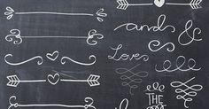 Handgezeichnete Kreide Doodle Text Teiler swirly ClipArts für Scrapbooking Hochzeit Einladung kommerzielle Nutzung sofort-download | Texts, Clip art and Charts