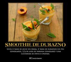 #Bebida #Smoothie de #Durazno...  Licúa 2 tazas de leche sin grasa, 2 tazas de duraznos sin piel congelados, 1/4 de jugo de naranja congelado y una cucharada de stevia o splenda.  @candidman