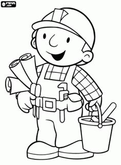 Bob the Builder ready to work coloring page