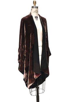 Our Poiret Cocoon Jacket is a luxurious work of art! Constructed in batwing style, the jacket is made of a luxurious mahogany rayon velvet in a stunning Deco...