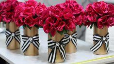 PINK & GOLD ROSE CENTERPIECE KATE SPADE INSPIRED, BRIDAL SHOWER