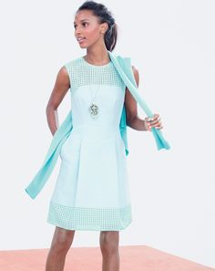 J.Crew women's perforated a-line dress, pointelle boyfriend Collection cashmere, and mixed crystal pendant necklace. To preorder call 800 261 7422 or email verypersonalstylist@jcrew.com.