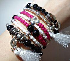 Charm bangle bracelet, memory wire bracelet, wrap bracelet set, tassel bracelet