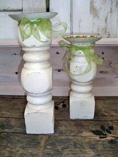 Recycled Farmhouse Wooden Candle Holders Repurposed Wood Table Legs Salvaged…